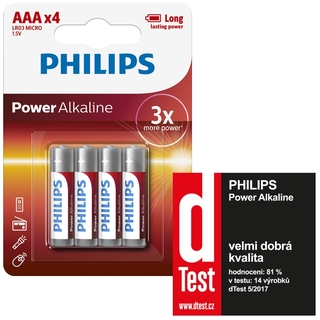 Philips baterie POWER ALKALINE 4ks blistr (LR03P4B/10, AAA, 1,5V)