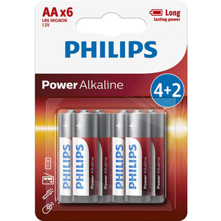 Philips baterie Power Alkaline 4+2ks blistr (LR6P6BP/10, AA, LR6)