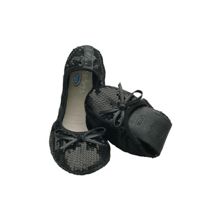 Scholl Pocket Ballerina New Sequins - černé baleríny
