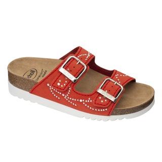 Scholl MALAREN - červené zdravotní pantofle