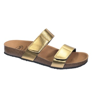 Scholl GREENY 2 STRAPS - zlaté zdravotní pantofle