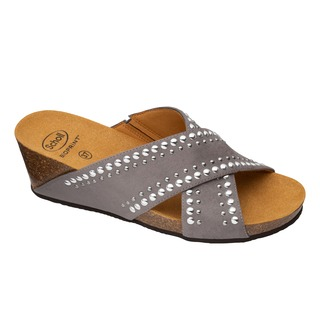 Scholl MICHELLE CROSS - šedé zdravotní pantofle