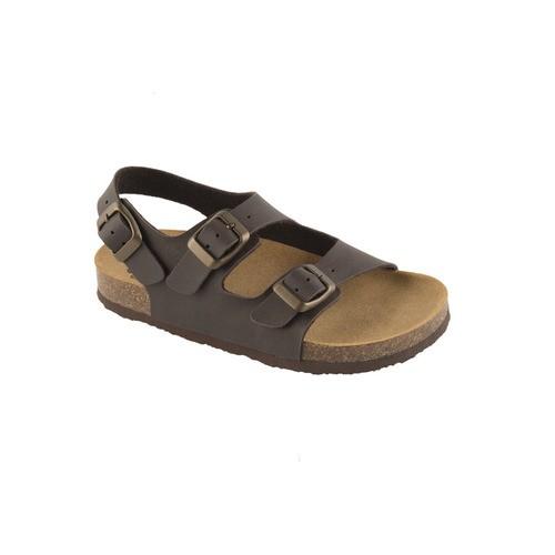 AIR BAG KID tmavě hnědé - dětské zdravotní pantofle s páskem - EU 27