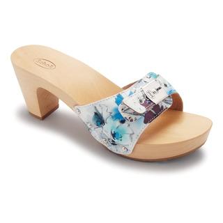 Scholl LADY FLOWER - modrobílé dřeváky