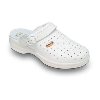Scholl NEW BONUS Punched - bílé pracovní pantofle