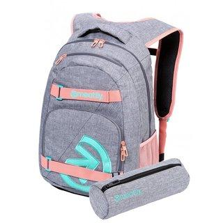 meatfly Exile 5 G - Heather Grey, Pink - šedý batoh 24l