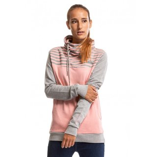 meatfly Symma Hoodie A - Powder Pink/Grey - růžová dámská mikina