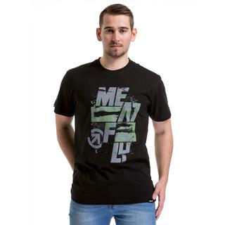 meatfly Burnout T-Shirt - D - černé pánské tričko s krátkým rukávem