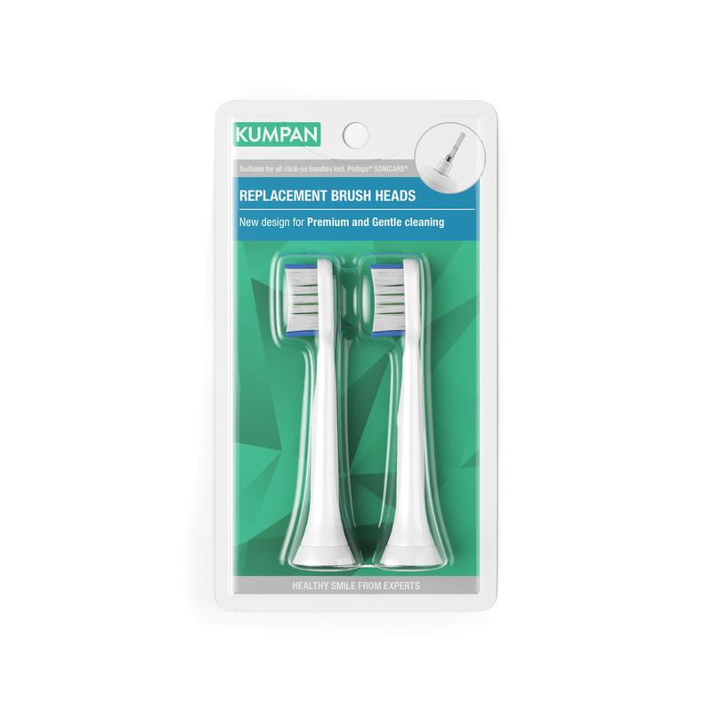 KUMPAN 002W - Premium Plaque Defence White - náhradní hlavice pro sonické kartáčky (2ks)