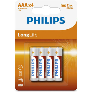 Philips baterie LONG LIFE 4ks (R3L4B/10, AAA, 1,5V)
