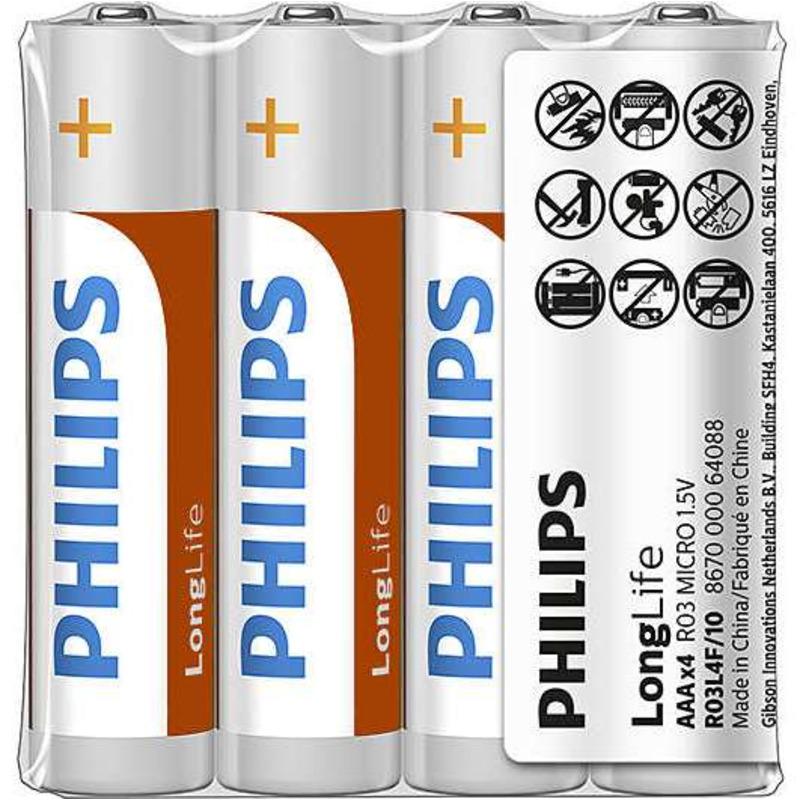 Philips baterie LONGLIFE 4ks fólie (R03L4F/10, AAA, LR3)