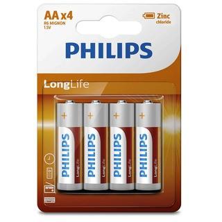 Philips baterie LONG LIFE 4ks blister (R6L4B, AA,1,5V)
