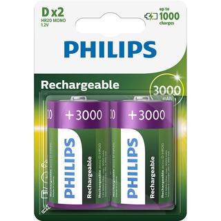 Philips baterie RECHARGERABLE 2ks blistr (R20B2A300, D, NiMh, 3000 mAh)