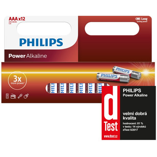Philips baterie POWER ALKALINE (LR03P12W/10, AAA, 12ks)
