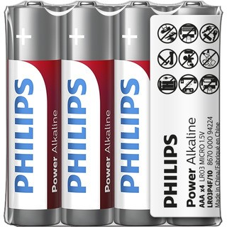 Philips baterie POWER ALKALINE 4ks fólie (LR03P4F/10, AAA)