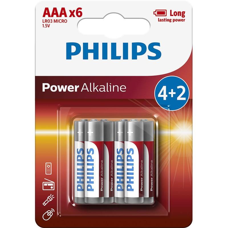 Philips baterie POWER ALKALINE 4+2ks (LR03P6B/10, AAA, 1,5V)