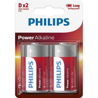 Philips baterie Power Alkaline 2ks blistr (LR20P2B/10, D, LR20)
