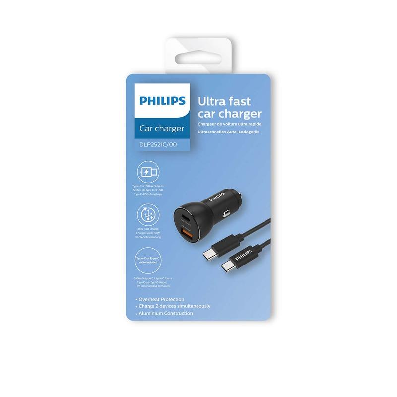 Philips DLP2521C/00 - nabíječka do auta s porty 1x USB-A + 1x USB-C