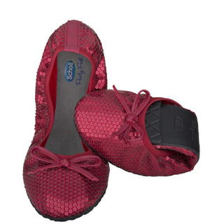 Scholl Pocket Ballerina PAILLETTES - červené baleríny