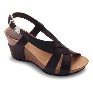 Scholl CORANTA - tmavě hnědé kožené módní sandály