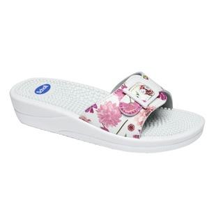 Scholl NEW MASSAGE bílé/růžové - zdravotní pantofle