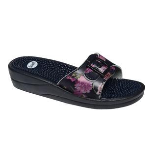 Scholl NEW MASSAGE černé/růžové - zdravotní pantofle