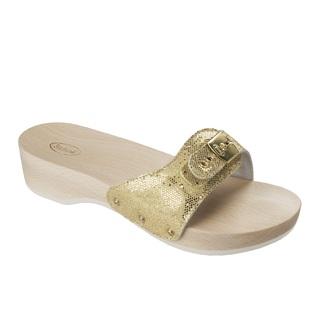 Scholl PESCURA HEEL - zlaté zdravotní pantofle