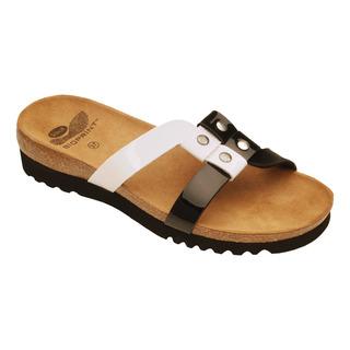 Scholl IKELA černé/bílé - zdravotní pantofle