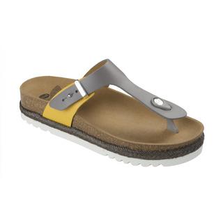 Scholl IDYLLA šedé/okrové zdravotní pantofle