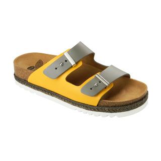 Scholl OLYMPE šedé/okrové zdravotní pantofle