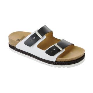 Scholl OLYMPE černé/bílé zdravotní pantofle