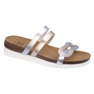 Scholl SOFIA platino stříbrné zdravotní pantofle
