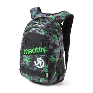 meatfly Exile 2 D - Tilt Green Print, Black - černý batoh 22l