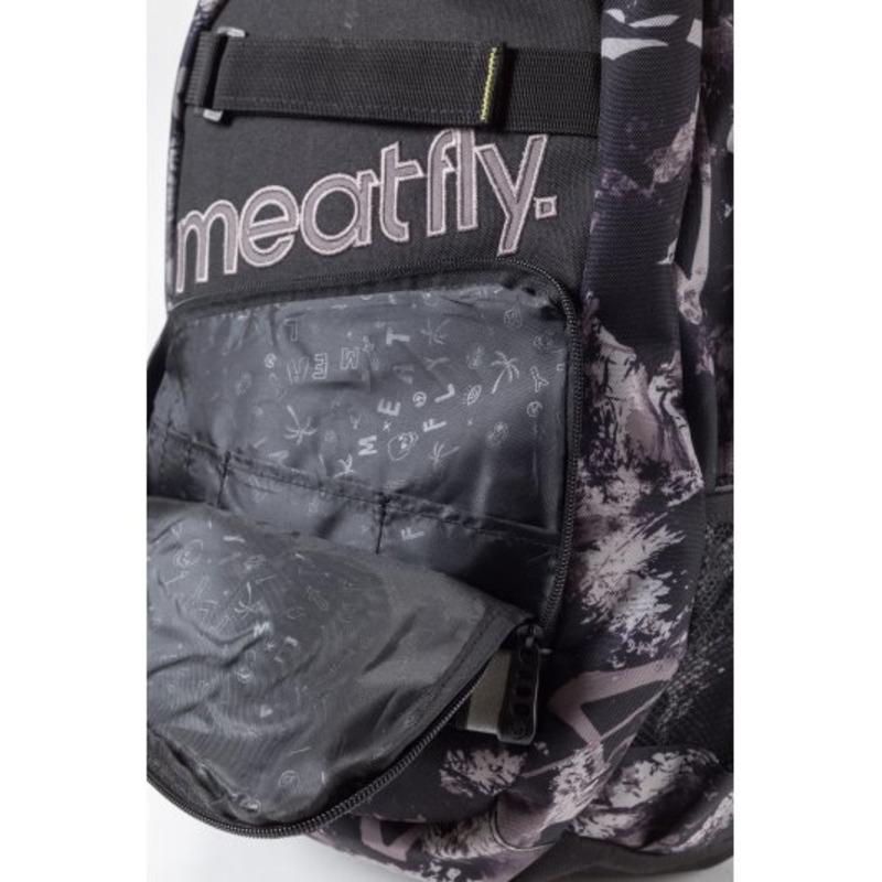 meatfly Exile 2 C - Tilt Gray Print, Black - černý batoh 22l