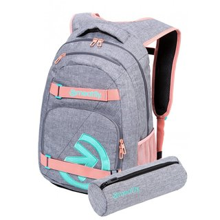 meatfly Exile 5 G - Heather Grey, Pink - šedý batoh 24l