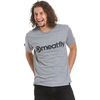 meatfly Logo 20 - FW20 Heather Grey - šedé pánské tričko s krátkým rukávem