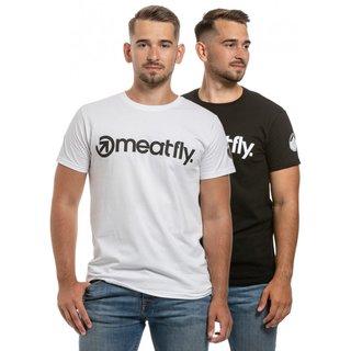 meatfly Logo 25 Years - bílé a černé pánské tričko s krátkým rukávem