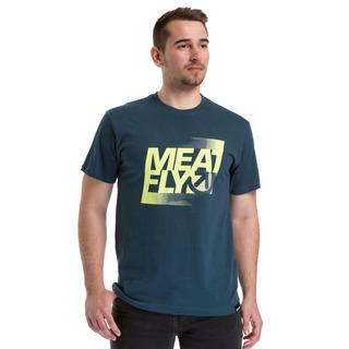 meatfly Flux 2 - D - DARK SLATE - modré pánské tričko s krátkým rukávem